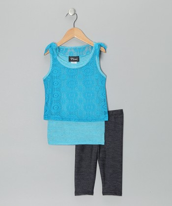Turquoise Layered Lace Tank & Jeggings - Girls