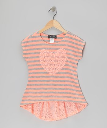 Coral Lace Heart Top - Girls