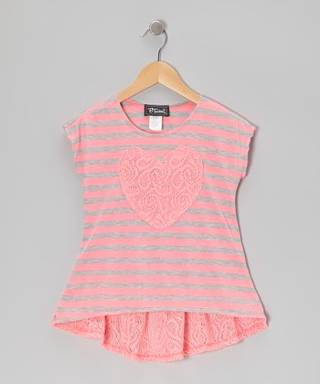 Neon Pink Lace Heart Top - Girls