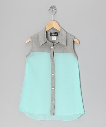 Mint Color Block Hi-Low Tank - Girls