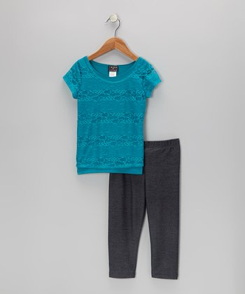 Jade Lace Top & Jeggings - Girls