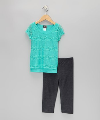 Mint Lace Top & Jeggings - Girls