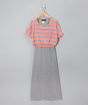Coral & Gray Stripe Layered Maxi Dress - Girls