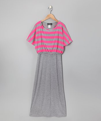 Fuchsia & Gray Stripe Layered Maxi Dress - Girls