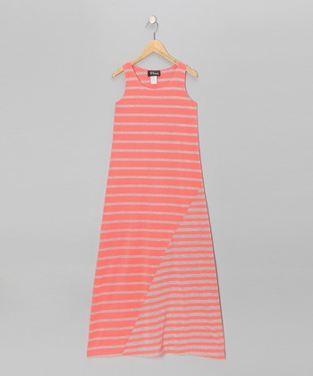 Heather Gray & Neon Coral Stripe Maxi Dress - Girls