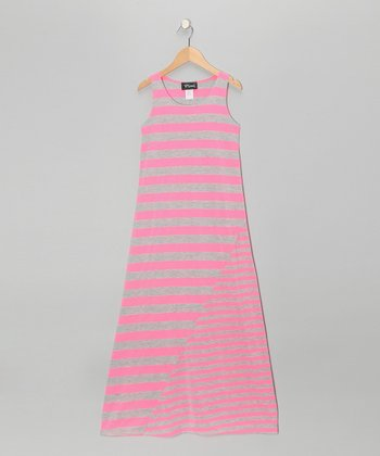 Heather Gray & Neon Pink Stripe Maxi Dress - Girls