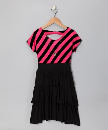 Black & Fucshia Stripe Tiered Ruffle Dress - Girls