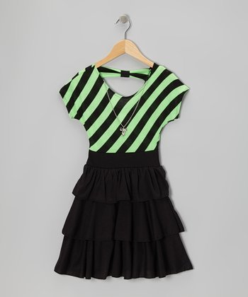 Black & Neon Lime Stripe Tiered Ruffle Dress - Girls