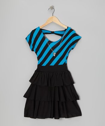 Black & Turquoise Stripe Tiered Ruffle Dress - Girls