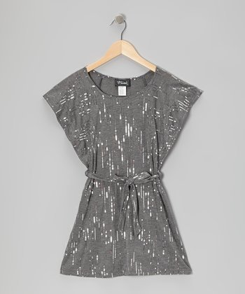 Charcoal Sequin Flutter-Sleeve Dress - Girls