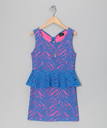 Blue & Neon Pink Peplum Dress - Girls