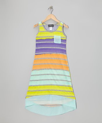 Mint & Purple Stripe Hi-Low Dress