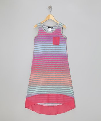 Peach & Fuchsia Stripe Hi-Low Dress