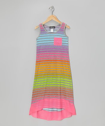Turquoise & Pink Stripe Hi-Low Dress - Girls
