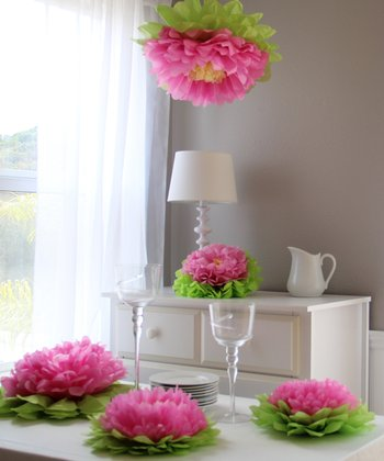 Light Pink Flower Pom Set