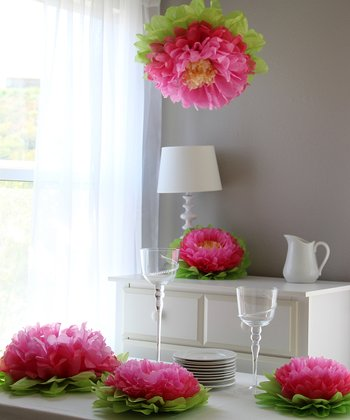 Light Pink & Pink Flower Pom Set