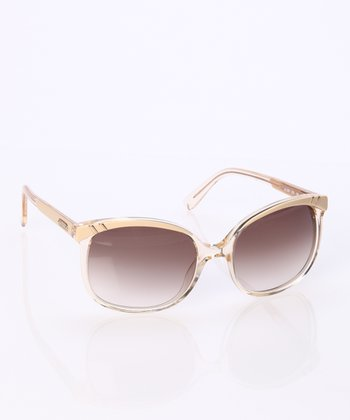 Beige Oversize Cat-Eye Sunglasses