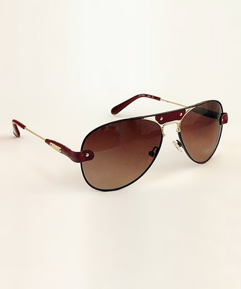 Burgundy Pilot Band Sunglasses
