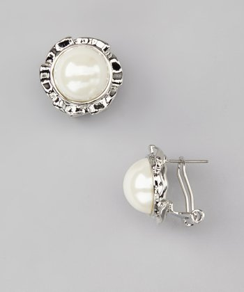 Pearl Dome Stud Earrings