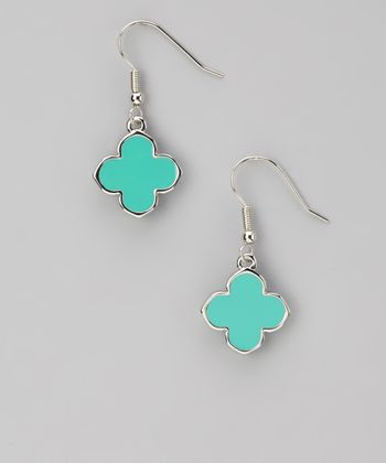 Turquoise & Silver Clover Earrings