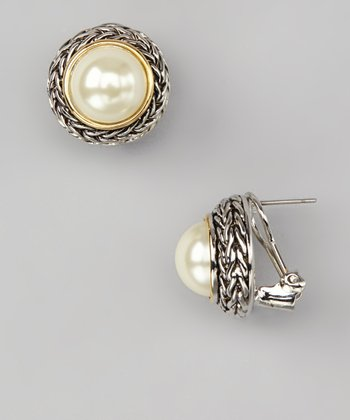 Pearl Dome Braided Earrings