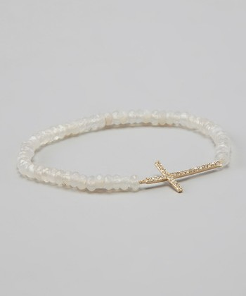 White Onyx & Gold Cross Stretch Bracelet