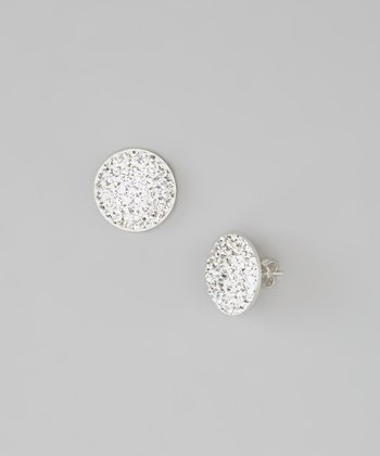 Sterling Silver & Platinum Oval Stud Earrings