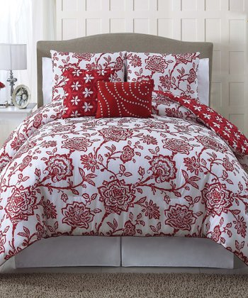 Red Jordin Comforter Set