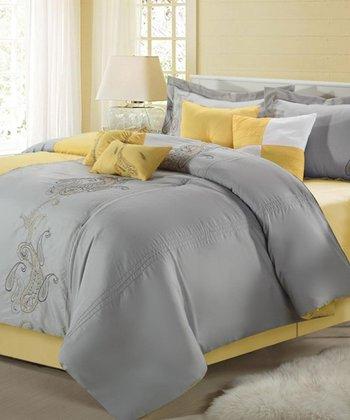 Yellow Ann Harbor Embroidered Comforter Set