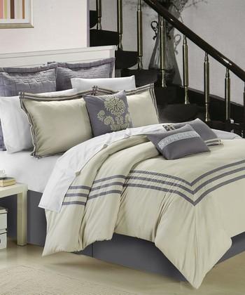 Beige & Silver Cosmo Comforter Set