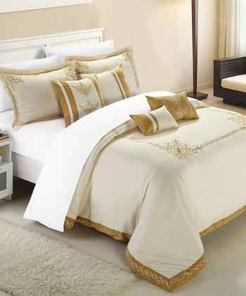 Beige & Gold Athens Comforter Set