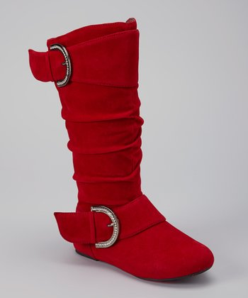 Red Faux Suede Destiny Boot