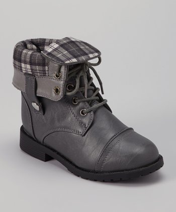 Gray Cuffed Damara Boot