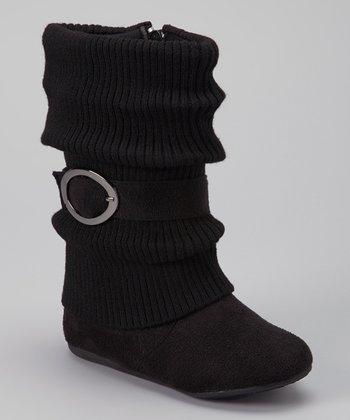 Black Daysi Fold-Over Boot