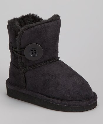 Black Faux Fur Betty Boot