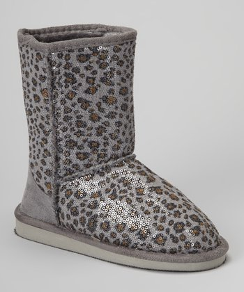 Gray Leopard Sequin Betty Boot