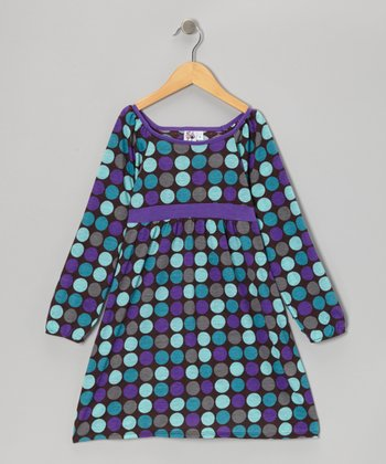 Purple & Aqua Polka Dot Babydoll Dress - Toddler & Girls