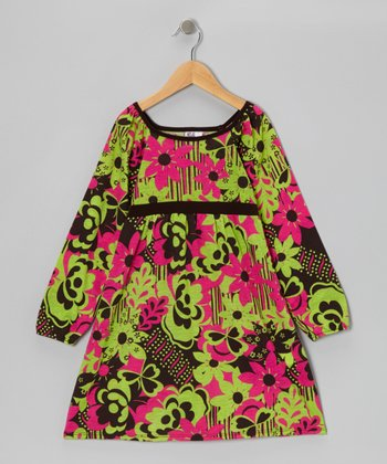 Green & Pink Floral Babydoll Dress - Toddler & Girls