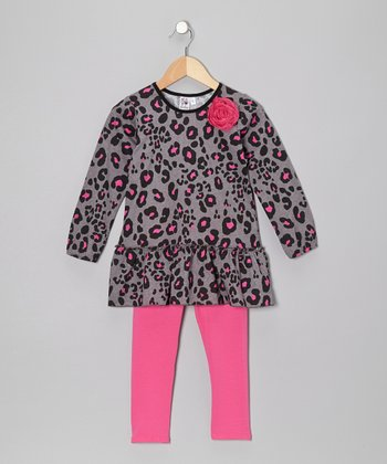 Gray Leopard Tunic & Pink Leggings - Toddler & Girls