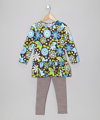 Blue Floral Tunic & Brown Stripe Leggings - Toddler & Girls
