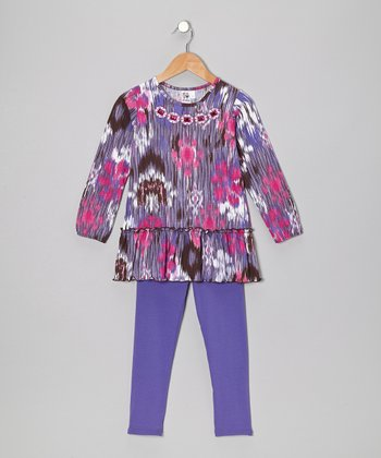 Purple Blur Tunic & Leggings - Toddler & Girls