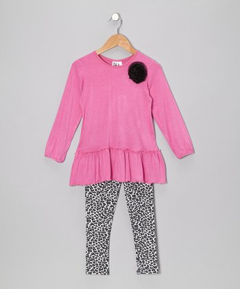 Pink Tunic & Black Leopard Leggings - Toddler & Girls