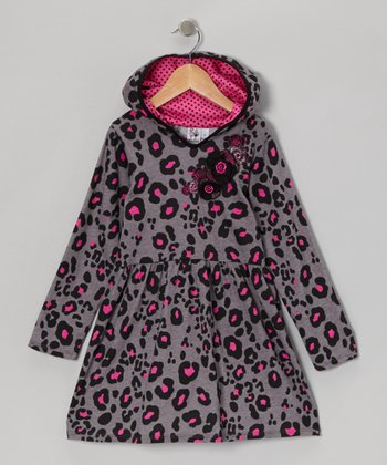 Gray & Pink Leopard Hooded Dress - Girls