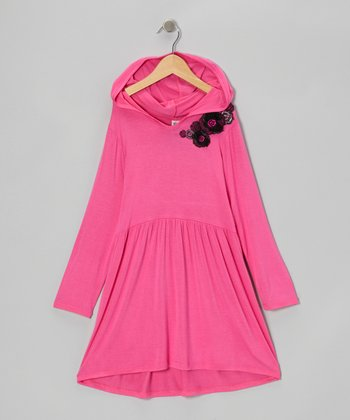 Hot Pink Hooded Dress - Infant & Girls