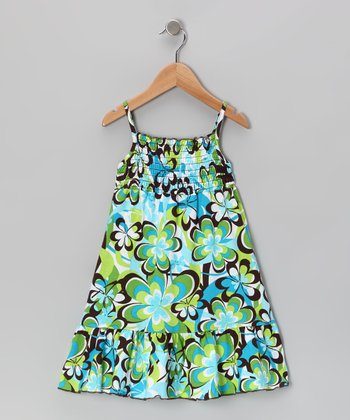 Green Floral Maxi Dress - Toddler & Girls