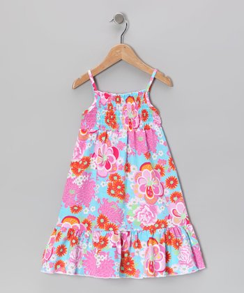 Pink & Blue Floral Maxi Dress - Toddler & Girls