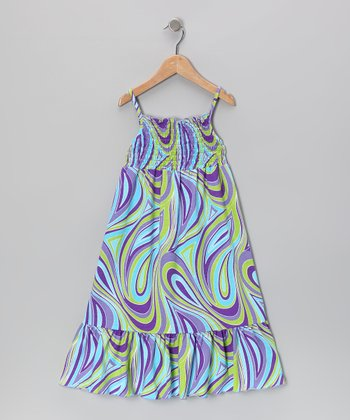 Turquoise & Purple Maxi Dress - Toddler