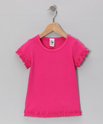 Hot Pink Ruffle Tee - Girls
