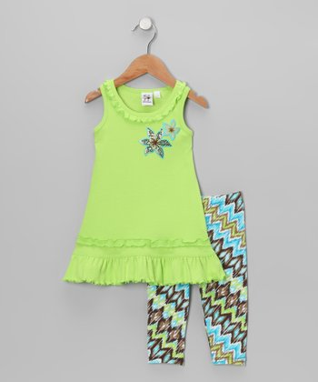 Green Flower Ruffle Dress & Leggings - Toddler & Girls