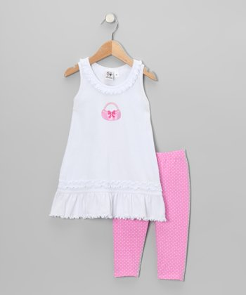 White Basket Ruffle Dress & Pink Leggings - Toddler & Girls
